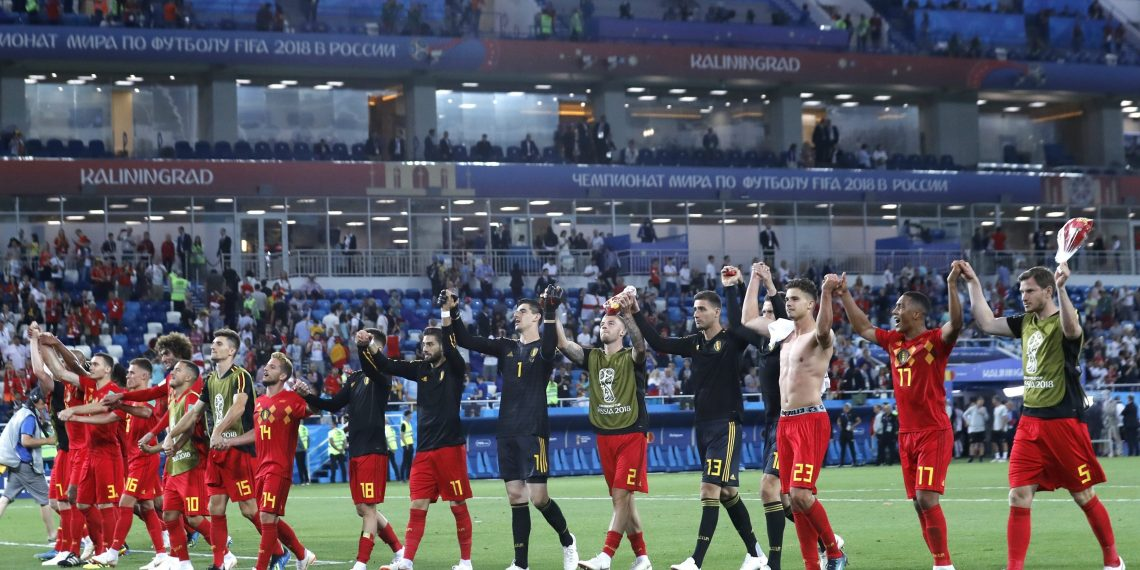 The Belgium team celebrate their win over England at  the Kaliningrad Stadium, Russia,