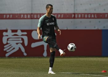 Cristiano Ronaldo plays the ball with during the training session of Portugal in Kratovo, Russia, Saturday