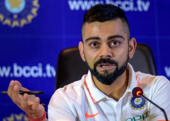 Indian cricket captain Virat Kohli reacts during a press conference ahead of the team's departure for England and Ireland, in New Delhi Friday