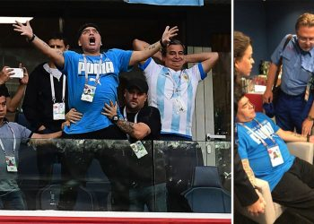The two faces of Diego: Maradona exploding with joy after Lionel Messi's first goal; Being attended to by paramedics at the St Petersburg Stadium's VIP enclosure