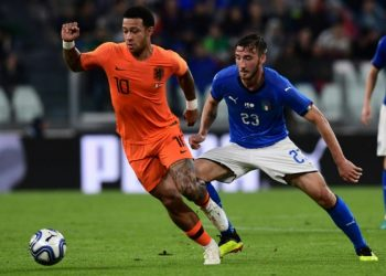 Action during Italy versus the Netherlands friendly match at Turin, Monday