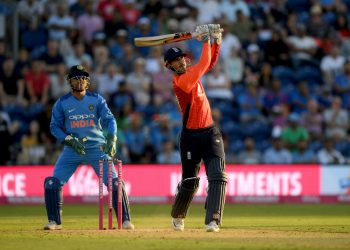 Alex Hales hits one for a six during his match-winning knock against India