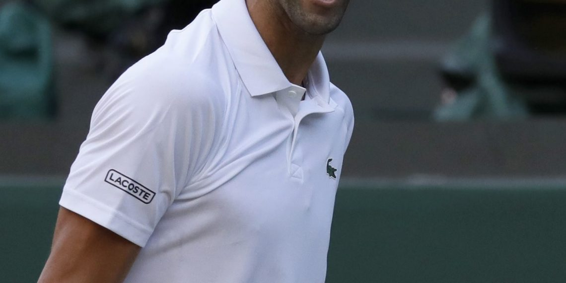 Novak Djokovic reacts after beating Kyle Edmund in London, Saturday