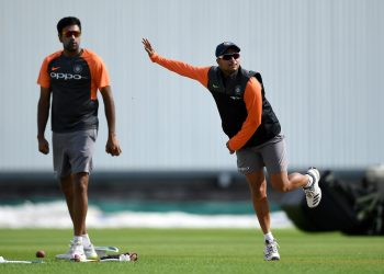 Kuldeep Yadav of India bowls during the practice session, Tuesday