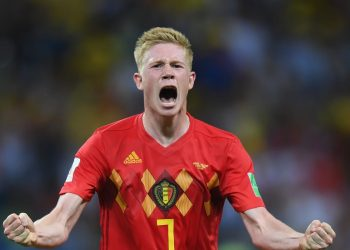 Kevin De Bruyne celebrates after scoring against Brazil, Friday