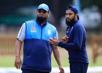 England's Adil Rashid (right) with spin bowling consultant Saqlain Mushtaq during a nets session at Edgbaston, Birmingham
