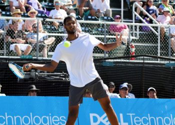 Ramkumar Ramanathan plays a forehand during the Hall of Fame Open final against Steve Johnson (not in picture), Sunday