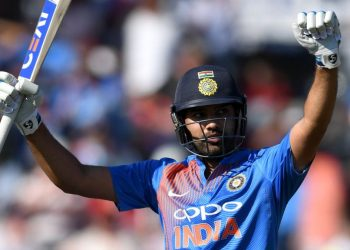 Rohit Sharma celebrates after his century against England, Sunday