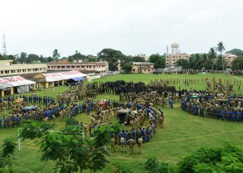 Police personnel conduct a mock drill for the upcoming Rath Yatra, at Reserve Police ground in Puri, Thursday.