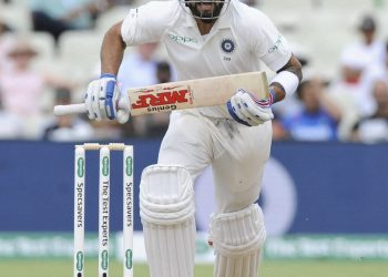 Virat Kohli looks for a run during the second day of the first Test against England at Edgbaston,Thursday