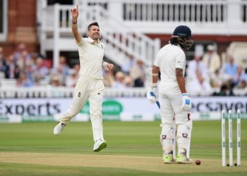 James Anderson celebrates after dismissing Murali Vijay at Lord's Cricket Ground