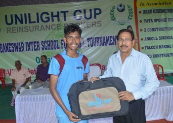 Sohan Dandapata of MPS receives the man of the match award from UAA vice-president Akshay Kumar Das in Bhubaneswar, Monday