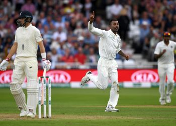 Hardik Pandya celebrates after removing England skipper Joe Root at the Trent Bridge, Sunday