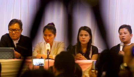 Pan Ei Mon, second left, wife of journalist Wa Lone, Chit Su Win, second right, wife of journalist Kyaw Soe Oo speaking to media Tuesday in Yangon. PTI photo