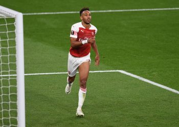 Arsenal striker Pierre-Emerick Aubameyang celebrates after scoring against Vorskla, Thursday