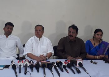Congress leaders including OPCC president Niranjan Patnaik address media