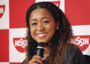 Naomi Osaka smiles during a press conference in Yokohama, Thursday