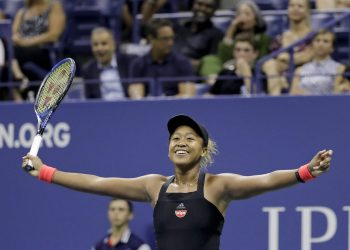 Naomi Osaka celebrates after defeating Madison Keys to enter the US Open final