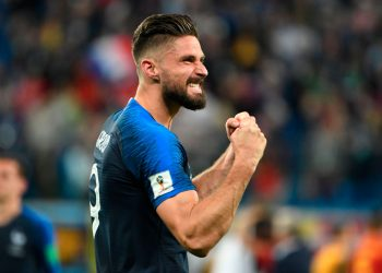 Olivier Giroud celebrates after scoring against the Netherlands