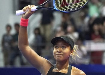Naomi Osaka reacts after her win against Barbora Strycova in Tokyo, Friday