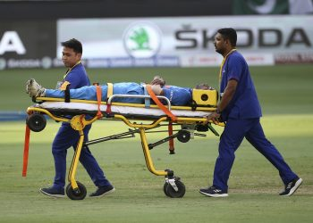 India's Hardik Pandya is stretchered off the field during their Asia Cup match against Pakistan, Wednesday