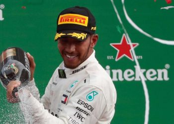 Lewis Hamilton sprays champagne after his Italian GP win, Sunday