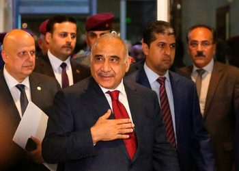 Adel Abdul Mahdi (front) arrives at the parliament in Baghdad, Iraq, on Oct 24, 2018.