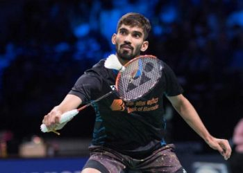 Kidambi Srikanth plays a shot against compatriot HS Prannoy in Kowloon, Thursday