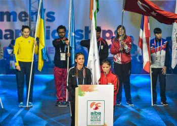 India's flagbearer MC Mary Kom addresses during the opening ceremony women's boxing WC at IG Stadium in New Delhi, Wednesday