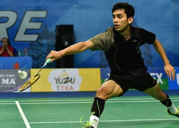 Lakshya Sen plays a shot against Chen Shiau Cheng in Markham, Thursday