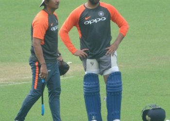 Indian captain Rohit Sharma during a practice session ahead of the second T20 match against West Indies