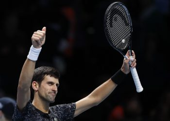 Novak Djokovic celebrates after defeating Alexander Zverev in London, Wednesday