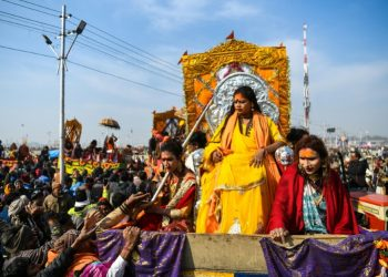 Tuesday was the first time that members of India's estimated two-million-strong transgender community have been allowed to wade in the water at India's Kumbh Mela festival (AFP)