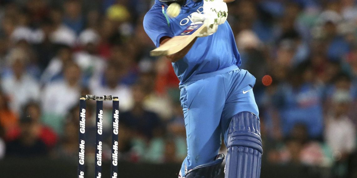 Rohit Sharma drives en route to his 22nd ODI ton