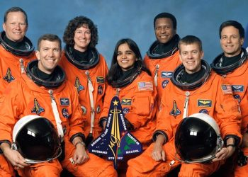 The crew of Shuttle Columbia, STS-107 (l-r): Mission Specialist 1 David M. Brown, Commander Rick D. Husband, Mission Specialist 4 Laurel Blair Salton Clark, Mission Specialist 2 Kalpana Chawla, Payload Commander Michael P. Anderson, Pilot William C. McCool, Payload Specialist 1 Ilan Ramon (NASA)