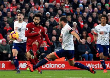 Liverpool's Mohamed Salah (in red) in action against Bournemouth in the Premier League game played Saturday