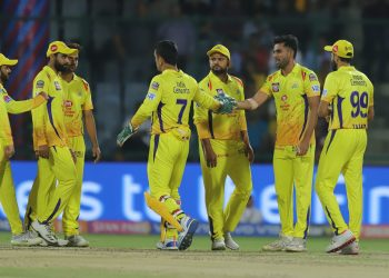 Chennai Super Kings players celebrate after dismissing a Delhi Capitals batsman in Feroz Shah Kotla, Tuesday
