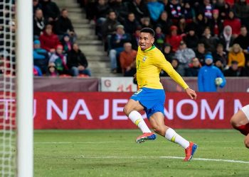 Gabriel Jesus (in yellow) scoring the first of his two goals against the Czech Republic, Tuesday
