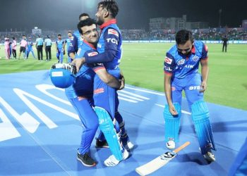Just as Pant hit the winning runs, finishing it off with a six here Monday night, former India skipper entered the ground and lifted him up.