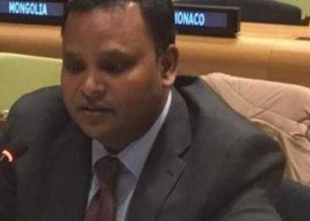 Counsellor in India's Permanent Mission to the UN Ashish Sinha speaks at the ECOSOC Forum
