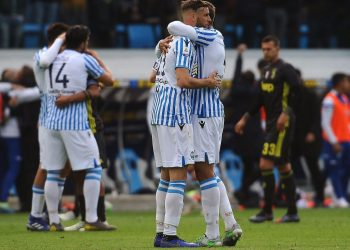 SPAL players celebrate their win over Juventus, Saturday