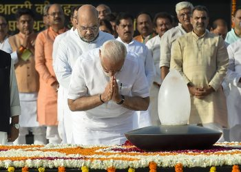 Prime Minister Narendra Modi and BJP president Amit Shah at Atal Bihari Vajpayee's memorial, Thursday